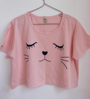 t shirt cropped gatinho